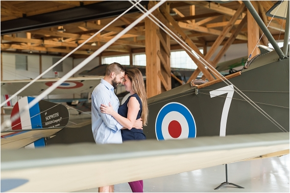 Aviation Themed Engagement Session as seen on Hill City Bride Virginia Wedding Blog E-session