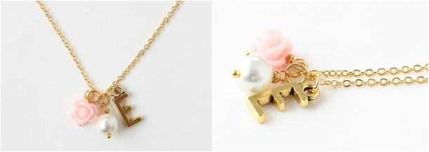 Flower Girl Gift Ideas as seen on Hill City Bride Virginia Wedding Blog - necklace, personalized, initial