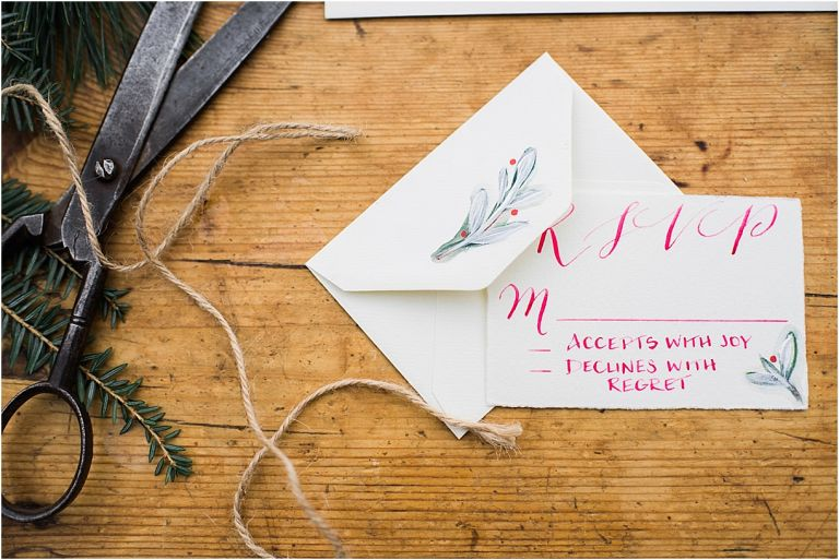 Horses and Hot Cocoa Winter Bridal Session as seen on Hill City Bride Virginia Wedding Blog - rsvp card