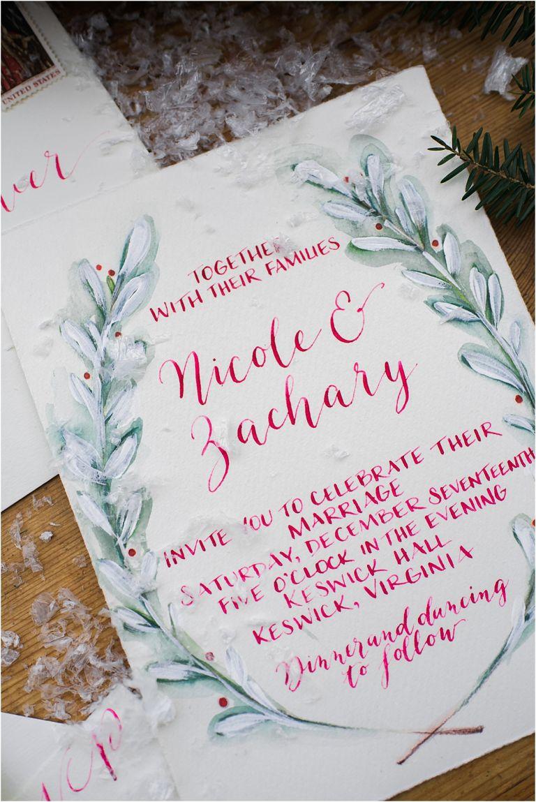 Christmas Wedding Holiday Berries Winter Styled Shoot as seen on Hill City Bride Virginia Wedding Blog - invitation, christmas, holiday