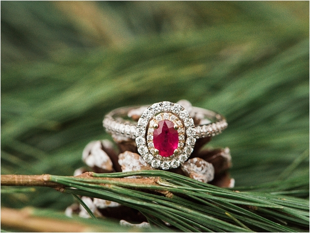 Christmas Wedding Holiday Berries Winter Styled Shoot as seen on Hill City Bride Virginia Wedding Blog - red ring, engagement ring, ruby