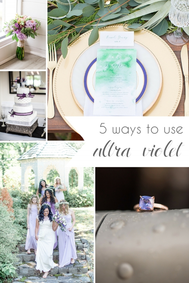 5 Ways to Use Ultra Violet in your Wedding as seen on Hill City Bride Virginia Blog