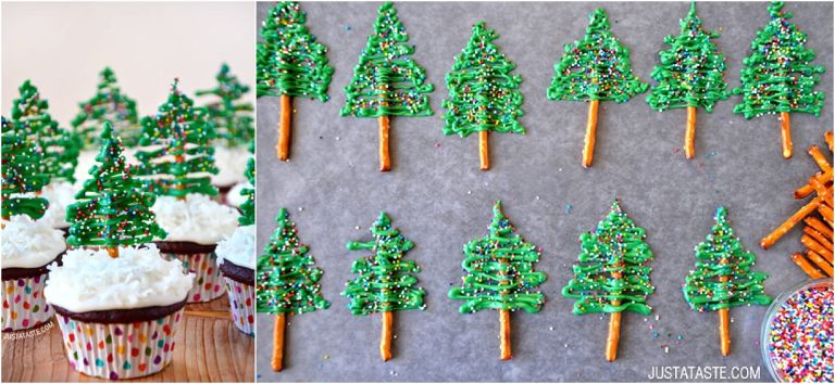 White Chocolate Holiday Treats DIY as seen on Hill City Bride Virginia Wedding Blog - Just a Taste green christmas tree cupcake toppers