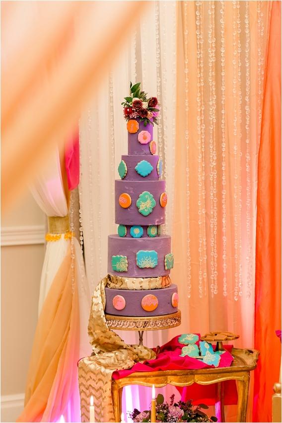 Middle Eastern Wedding | Hill City Bride Virginia Wedding Blog Travel Destination - tall cake, purple, cookies
