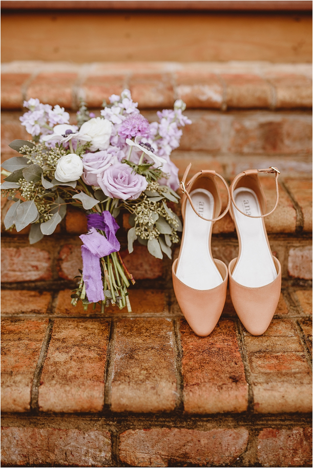 Vintage Heirloom DIY Wedding at the Aviary in Lynchburg Virginia Purple Lavender | Hill City Bride Wedding Blog Shoes Bouquet Bridal Bridesmaids