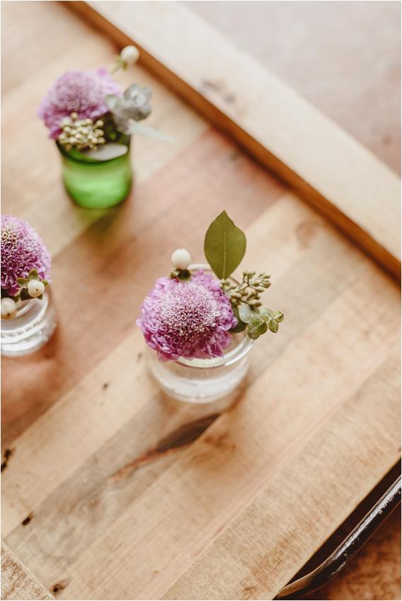 Vintage Heirloom DIY Wedding at the Aviary in Lynchburg Virginia Purple Lavender | Hill City Bride Wedding Blog Bouts Boutonnieres Purple Lavender