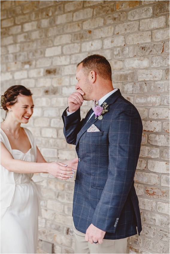 Vintage Heirloom DIY Wedding at the Aviary in Lynchburg Virginia Purple Lavender | Hill City Bride Wedding Blog Emotional Emotion Crying First Look Father Daughter