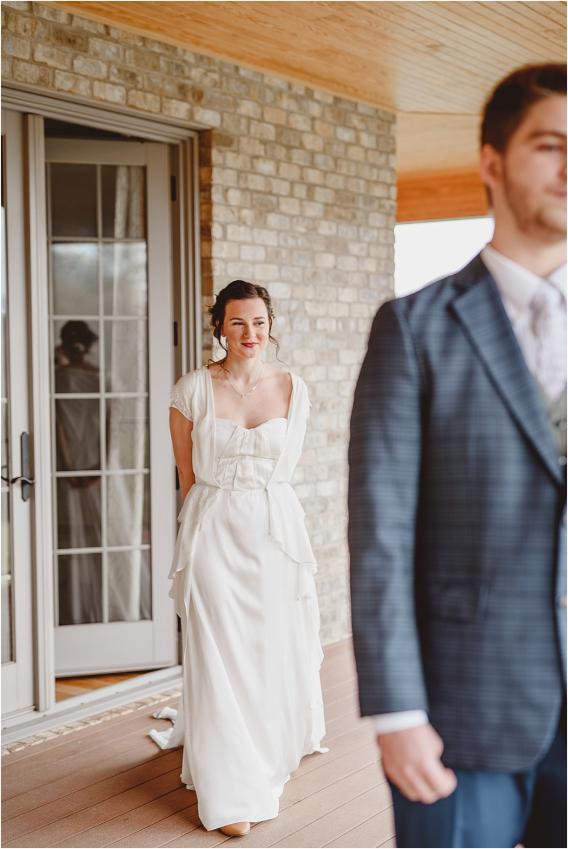 Vintage Heirloom DIY Wedding at the Aviary in Lynchburg Virginia Purple Lavender | Hill City Bride Wedding Blog First Look