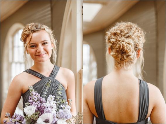 Vintage Heirloom DIY Wedding at the Aviary in Lynchburg Virginia Purple Lavender | Hill City Bride Wedding Blog Updo Hair Curly Bridesmaid Bun