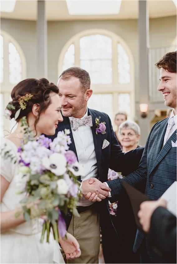 Vintage Heirloom DIY Wedding at the Aviary in Lynchburg Virginia Purple Lavender | Hill City Bride Wedding Blog Father of Bride Giving Away