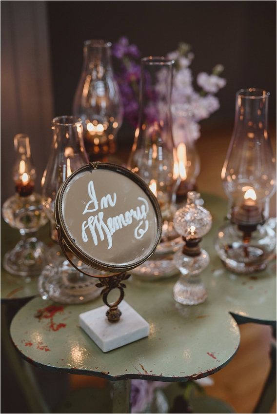 Vintage Heirloom DIY Wedding at the Aviary in Lynchburg Virginia Purple Lavender | Hill City Bride Wedding Blog Remembering Passed Loved Ones Kerosene Lanterns