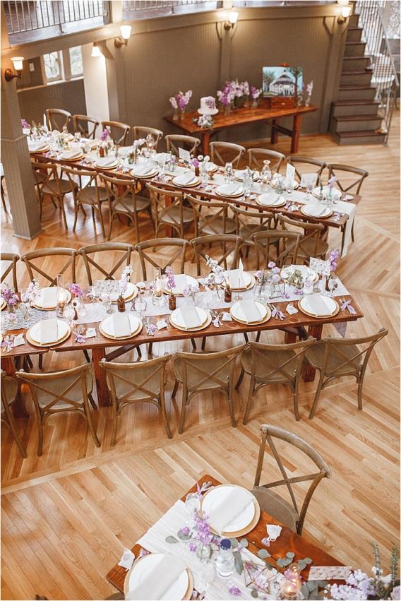 Vintage Heirloom DIY Wedding at the Aviary in Lynchburg Virginia Purple Lavender | Hill City Bride Wedding Blog Farm Tables
