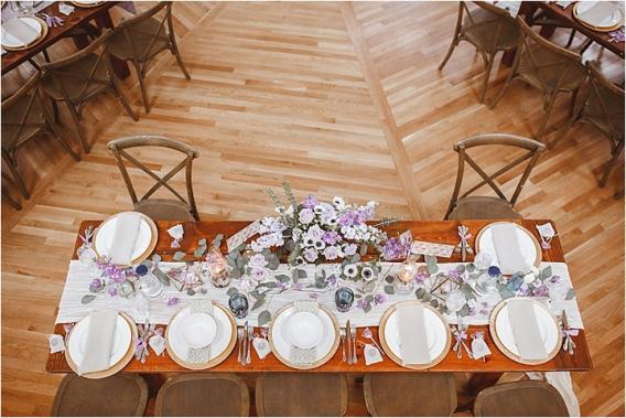 Vintage Heirloom DIY Wedding at the Aviary in Lynchburg Virginia Purple Lavender | Hill City Bride Wedding Blog Reception Overhead Shot
