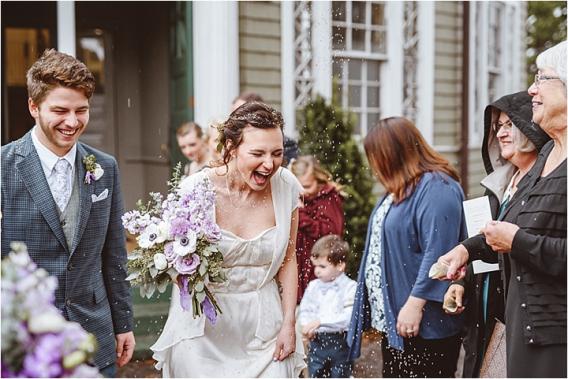 Vintage Heirloom DIY Wedding at the Aviary in Lynchburg Virginia Purple Lavender | Hill City Bride Wedding Blog Lavender Toss Exit