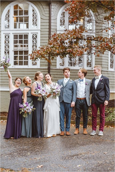Vintage Heirloom DIY Wedding at the Aviary in Lynchburg Virginia Purple Lavender | Hill City Bride Wedding Blog Attendants Party