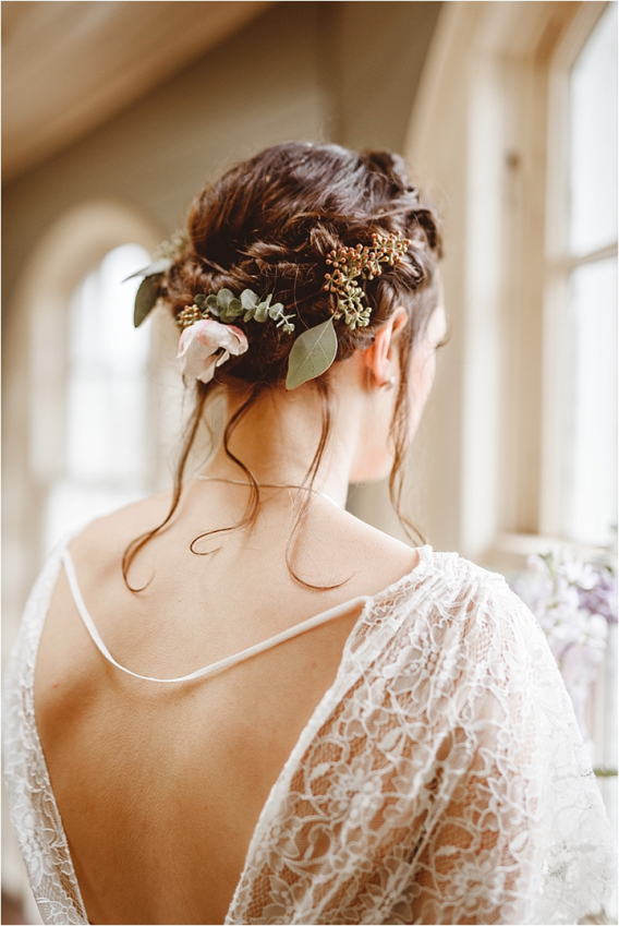 Vintage Heirloom DIY Wedding at the Aviary in Lynchburg Virginia Purple Lavender | Hill City Bride Wedding Blog Updo Hair Braid Flower Crown