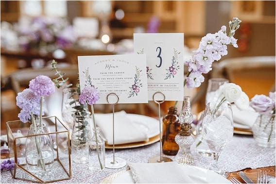 Vintage Heirloom DIY Wedding at the Aviary in Lynchburg Virginia Purple Lavender | Hill City Bride Wedding Blog Minted Menus Table Numbers