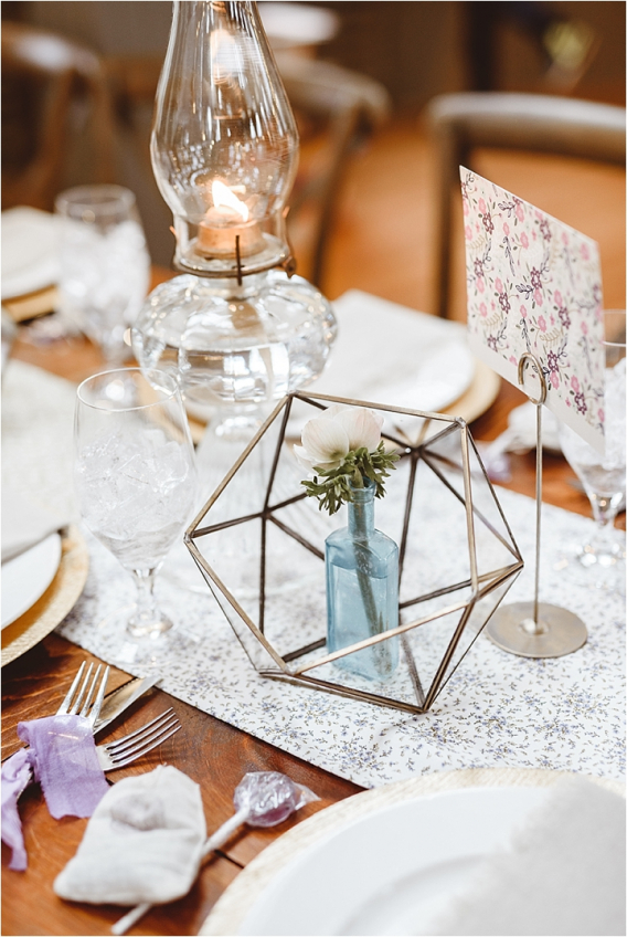 Vintage Heirloom DIY Wedding at the Aviary in Lynchburg Virginia Purple Lavender | Hill City Bride Wedding Blog Geometric Holder