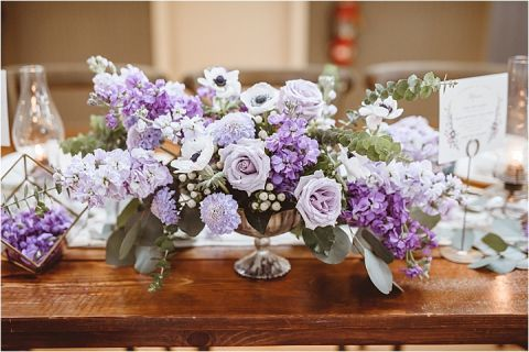 Vintage Heirloom DIY Wedding at the Aviary in Lynchburg Virginia Purple Lavender | Hill City Bride Wedding Blog Centerpiece Fiftyflowers Fifty Flowers Purple Roses Anemone Lavender