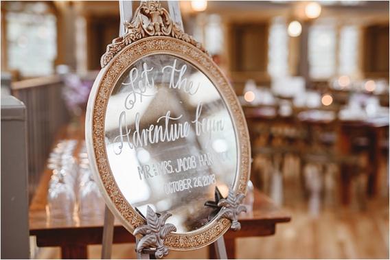 Vintage Heirloom DIY Wedding at the Aviary in Lynchburg Virginia Purple Lavender | Hill City Bride Wedding Blog Let the Adventure Begin Mirror Sign
