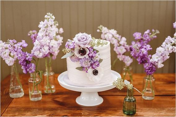 Vintage Heirloom DIY Wedding at the Aviary in Lynchburg Virginia Purple Lavender | Hill City Bride Wedding Blog Love Is in the Air Cake
