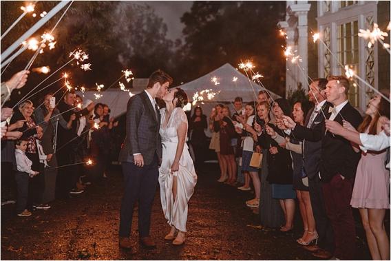 Vintage Heirloom DIY Wedding at the Aviary in Lynchburg Virginia Purple Lavender | Hill City Bride Wedding Blog Sparkler Exit