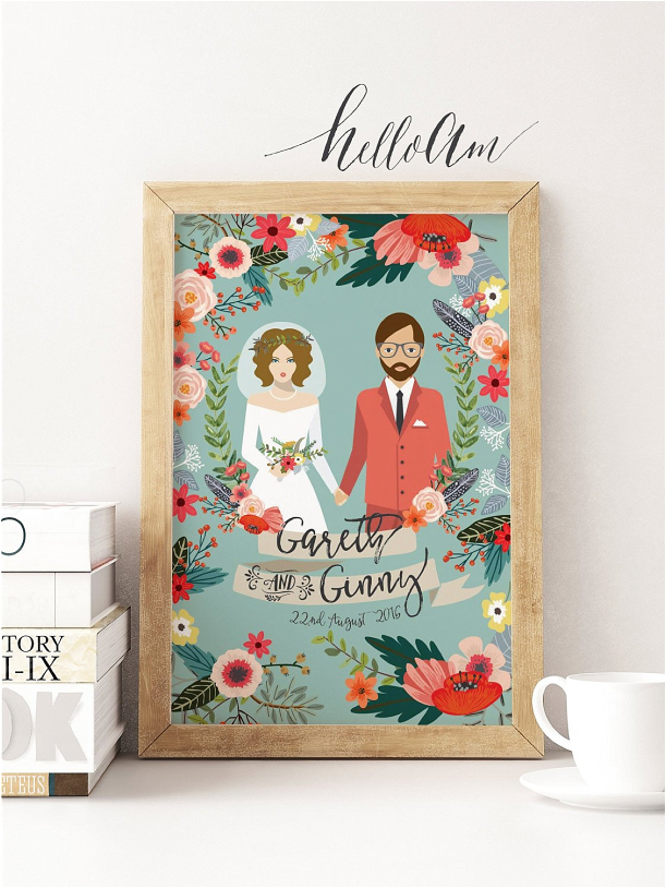 Personalized Gift Ideas for Newlyweds Couples | Hill City Bride Virginia Wedding Blog Floral Print Digital Groom