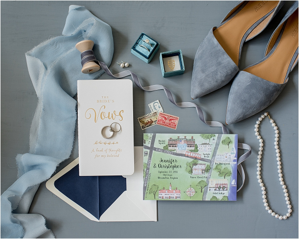 Blue Outdoor Wedding in Alexandria Virginia with Perfect Details | Hill City Bride Blog for Ideas and Inspiration Stamps Flat Lay Shoes Ring