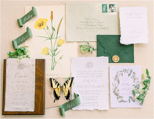 Autumnal Styled Shoot with Unique Spring Wedding Colors | Hill City Bride Virginia Wedding Blog Stationery Suite Green Yellow Butterfly
