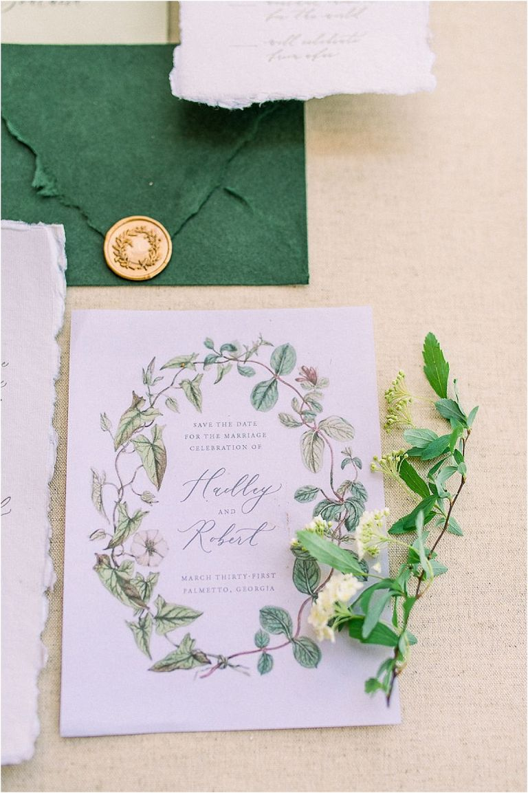 Autumnal Styled Shoot with Unique Spring Wedding Colors | Hill City Bride Virginia Wedding Blog Wedding Invitation Green