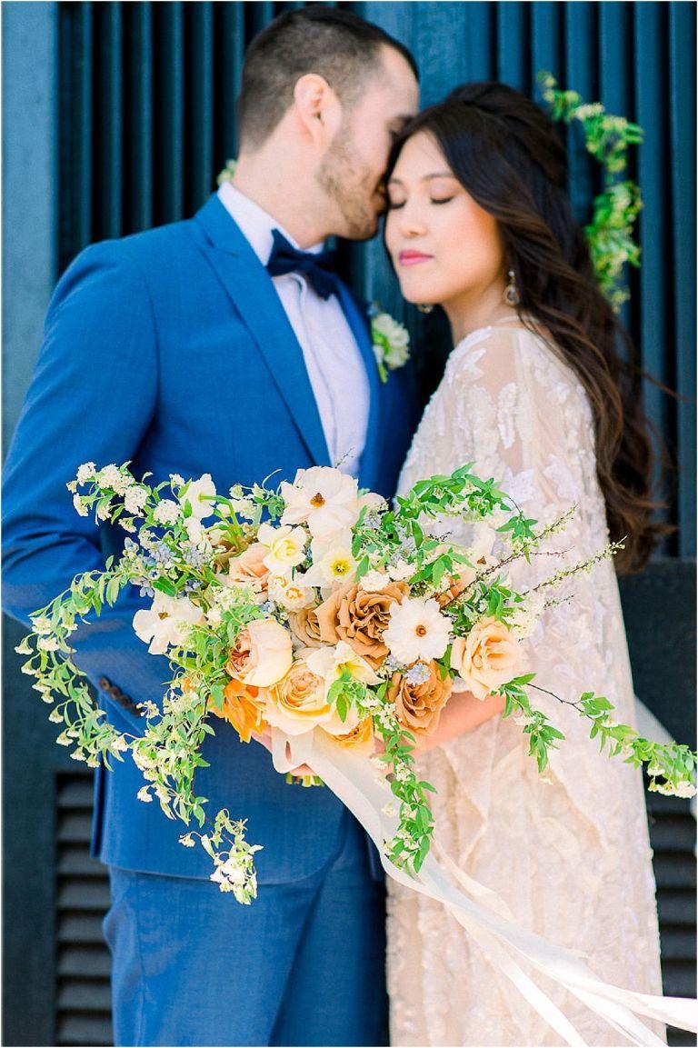 Autumnal Styled Shoot with Unique Spring Wedding Colors | Hill City Bride Virginia Wedding Blog Peach Orange Blue Bouquet Flowers Florals