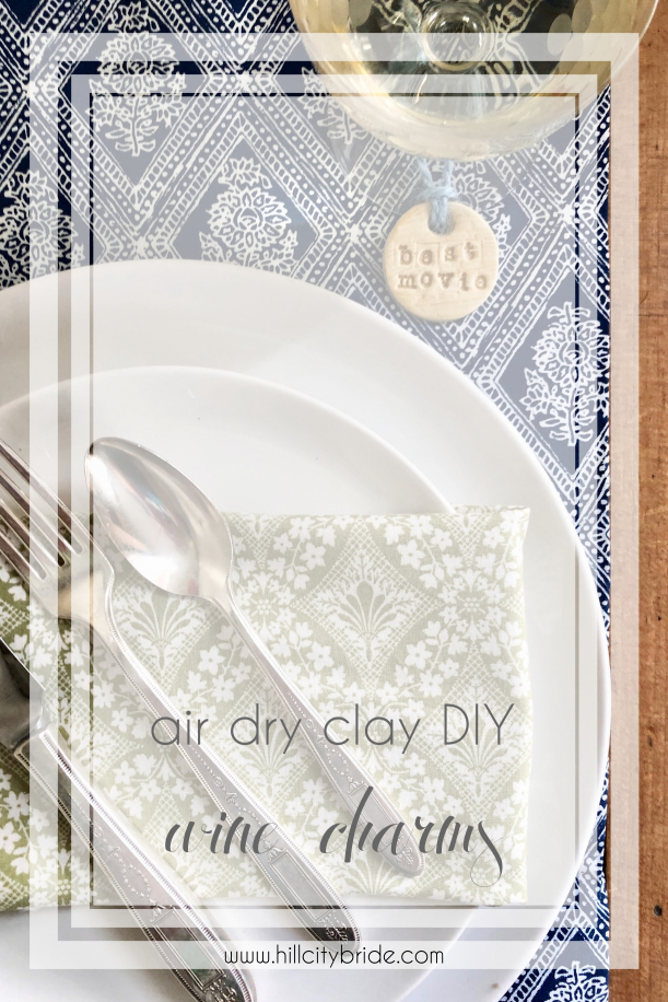 Air Dry Clay DIY Wine Charms Oscars Party Golden Globes Reception | Hill City Bride Virginia Wedding Blog Handmade Craft