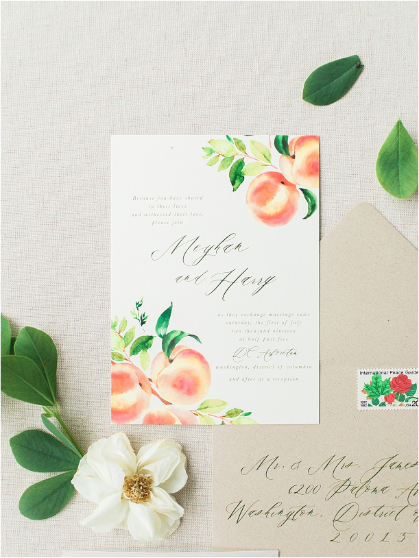 Peach Inspired Wedding Inspiration at the Arboretum Invitation