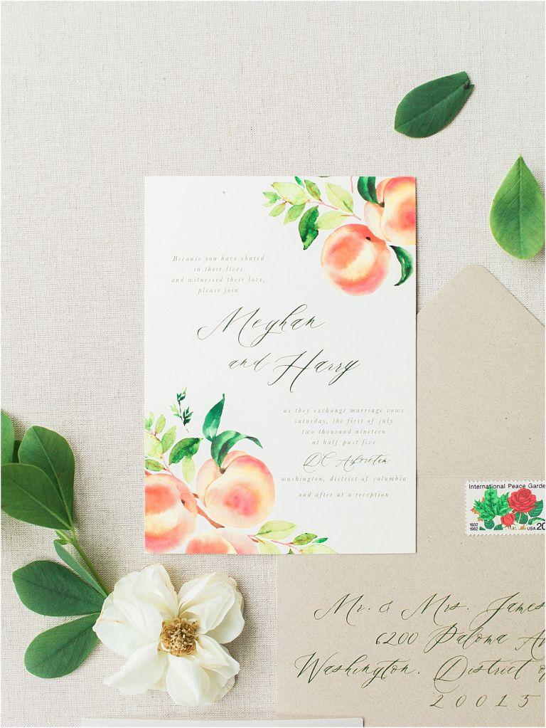 Peach Inspired Wedding Inspiration at the Arboretum Invitation