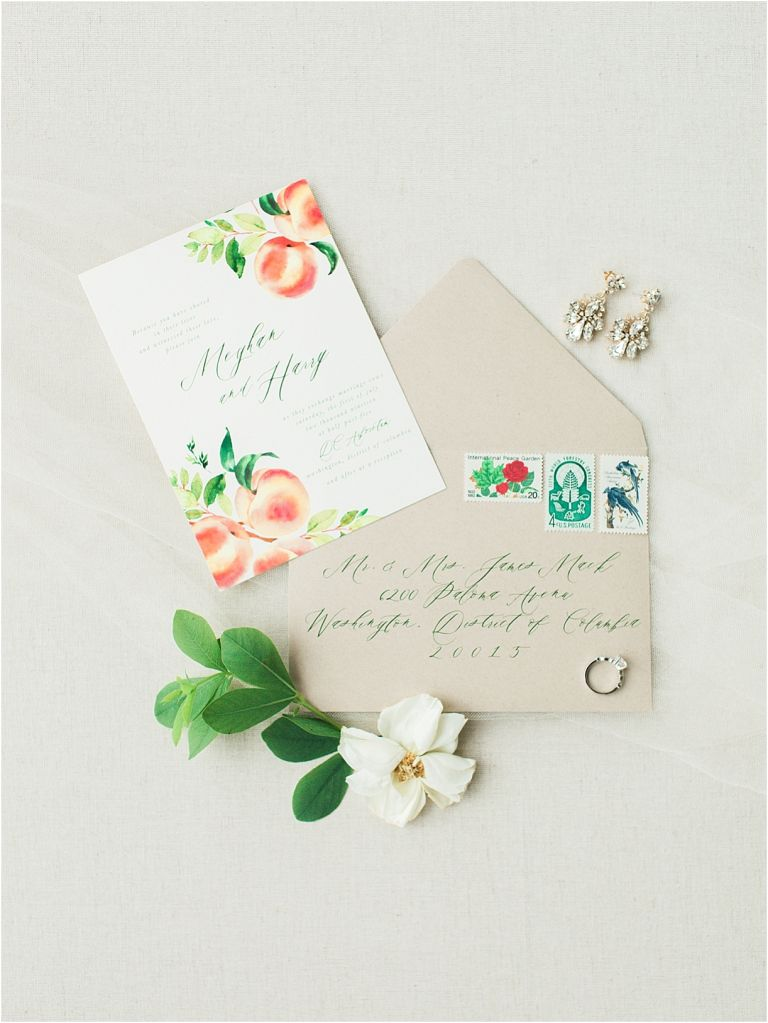 Peach Inspired Wedding Inspiration at the Arboretum Invitation Stationery Stamps