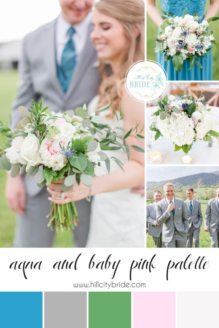 Aqua and Light Pink Wedding Color Palette Gray White Greenery | Hill City Bride