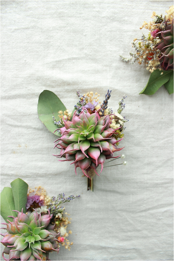Boutonnieres for the Stylish Groom Keep Forever Everlasting | Hill City Bride Virginia Weddings Blog Colored Succulent