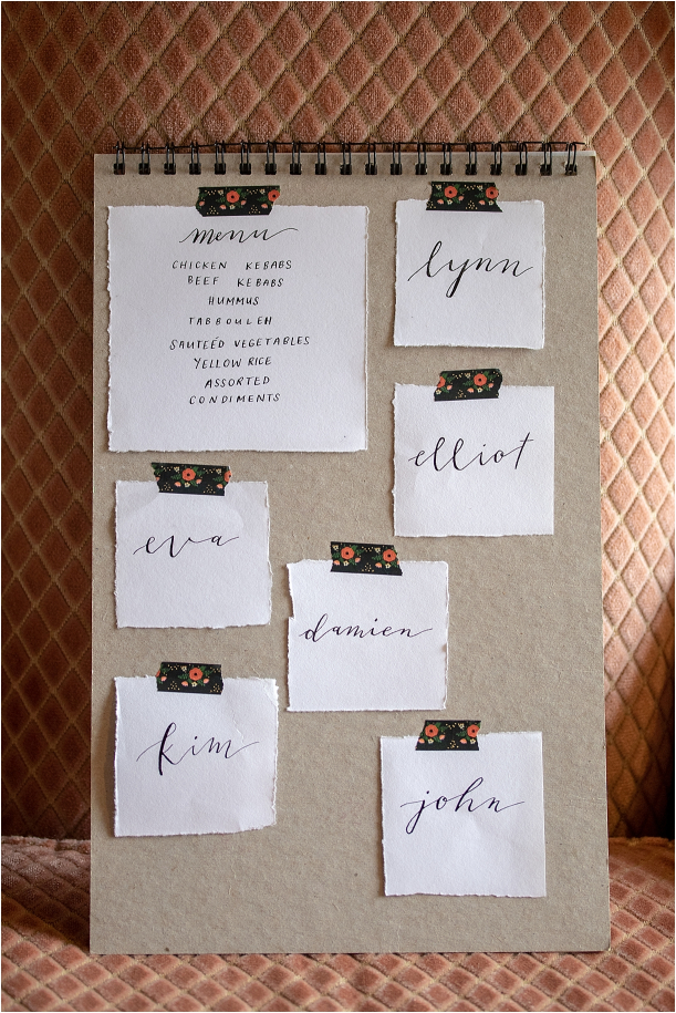 Mediterranean Rehearsal Dinner Ideas | Hill City Bride Lynchburg Virginia Weddings Blog Living Coral Food Cuisine Orange Peach Calligraphy Handwritten Place Cards Placecards Handwriting