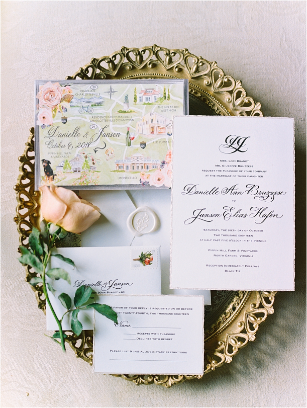 Gorgeous Pippin Hill Wedding in Charlottesville Virginia Flat Lay Mirror Tray