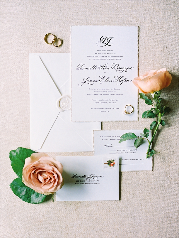 Gorgeous Pippin Hill Wedding in Charlottesville Virginia Invitation Suite