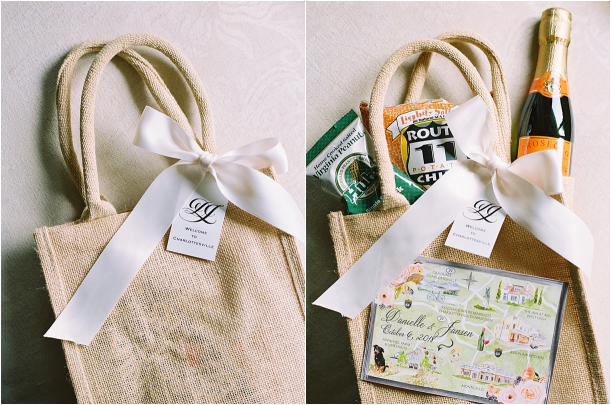 Gorgeous Pippin Hill Wedding in Charlottesville Virginia Welcome Bag Basket
