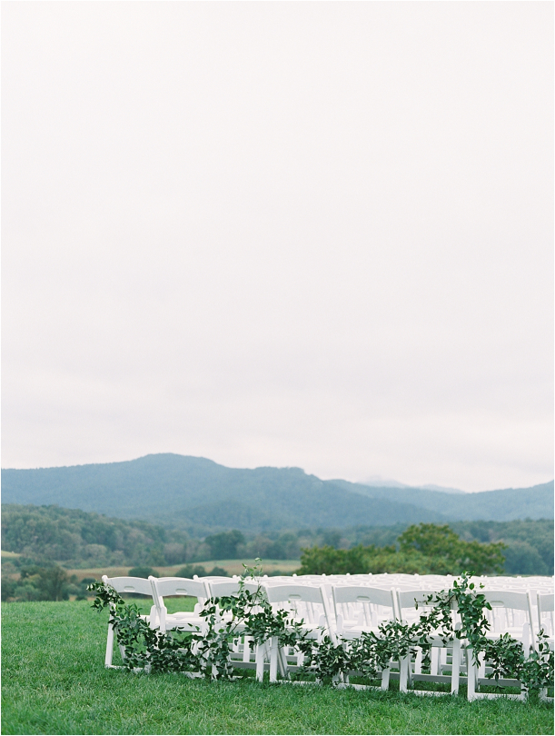 Gorgeous Pippin Hill Wedding in Charlottesville Virginia Chairs Ceremony Setup