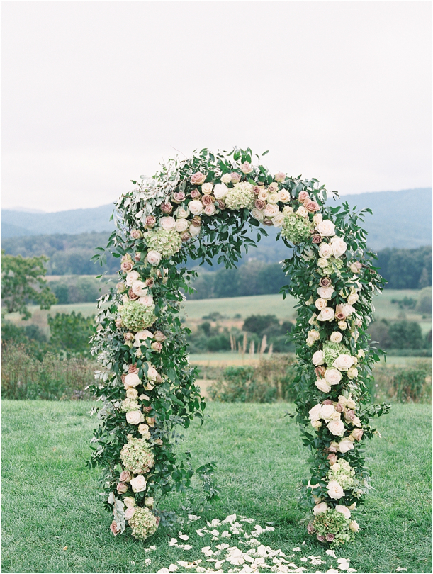Gorgeous Pippin Hill Wedding in Charlottesville Virginia Floral Arch Mountains