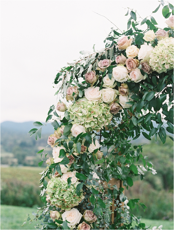 Gorgeous Pippin Hill Wedding in Charlottesville Virginia Floral Arch Flowers Roses