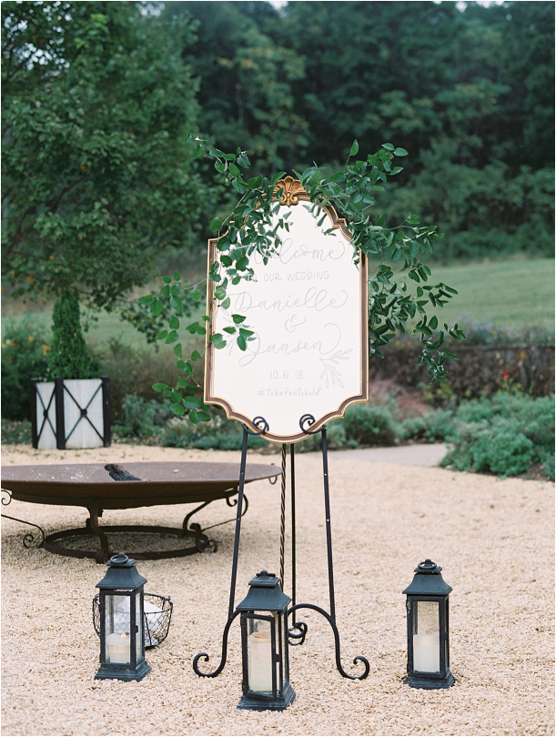 Gorgeous Pippin Hill Wedding in Charlottesville Virginia Mountain Signage Mirror