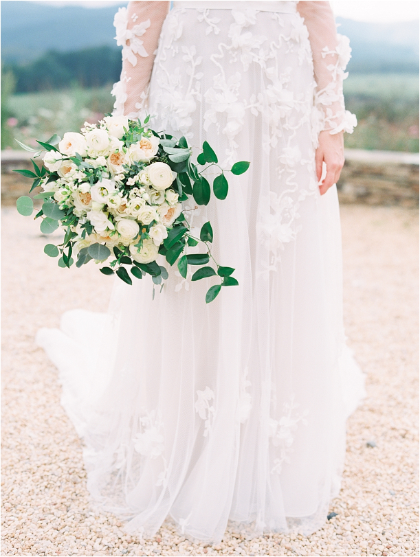Gorgeous Pippin Hill Wedding in Charlottesville Virginia Bouquet Flowers Roses White