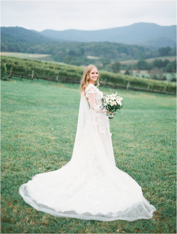 Gorgeous Pippin Hill Wedding in Charlottesville Virginia Lace Gown Dress