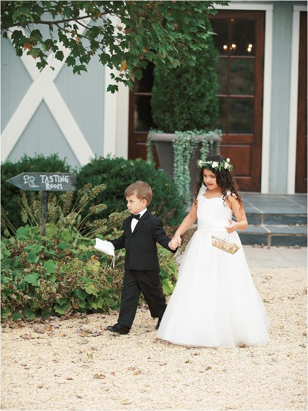 Gorgeous Pippin Hill Wedding in Charlottesville Virginia Flower Girl Ring Bearer Walking Down Aisle
