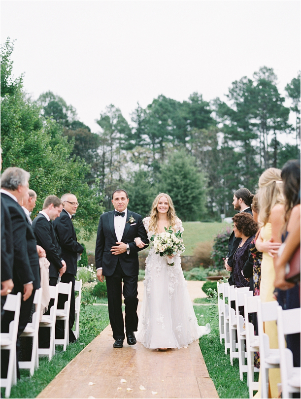 Gorgeous Pippin Hill Wedding in Charlottesville Virginia Father of Bride Walking Down Aisle