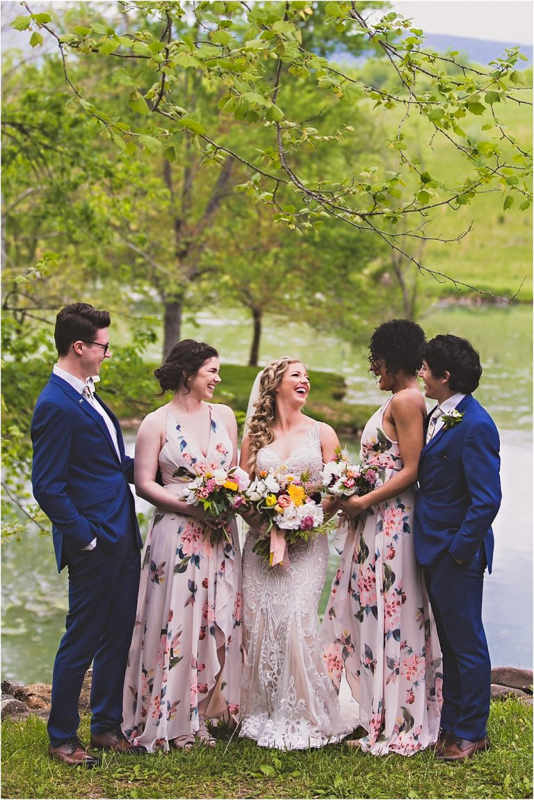 Navy Blue Wedding Color Schemes | Hill City Bride Virginia Blog Floral Bridesmaid Dresses Gowns